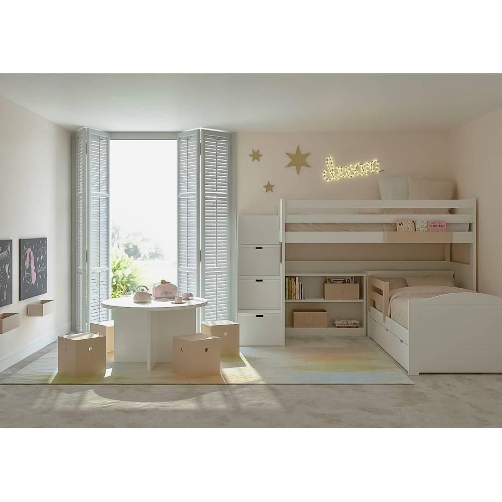 Lit Mezzanine Escalier Cube lit mezzanine enfant avec etagere design bibliothèque