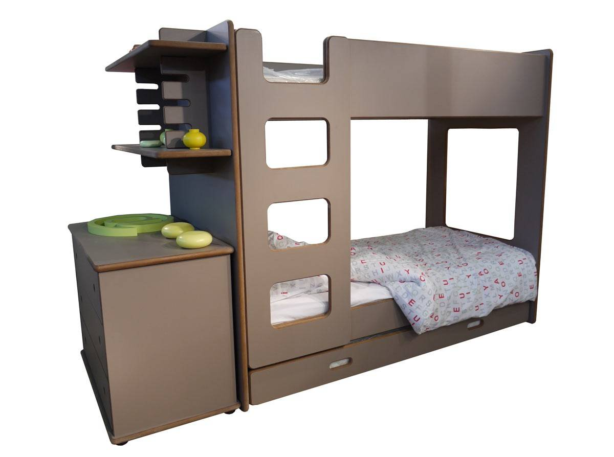 lits superpos s david avec bureau en bois pour les enfants. Black Bedroom Furniture Sets. Home Design Ideas