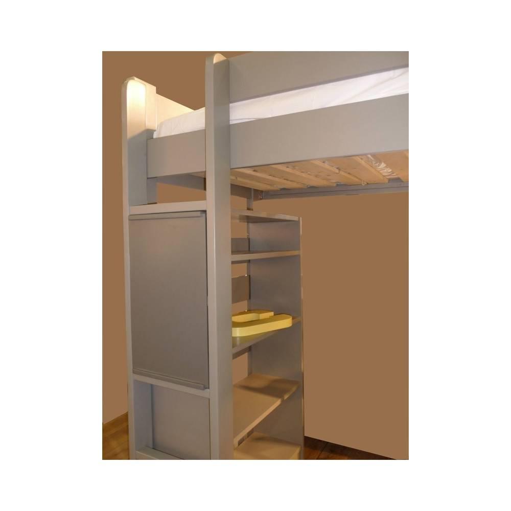 Lit mezzanine enfant avec bureau int gr en bois - Lit mezzanine bois ...