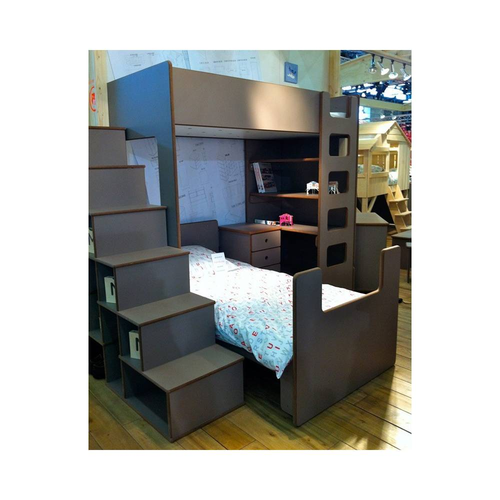 lit mezzanine enfant avec etagere et bureau int gr. Black Bedroom Furniture Sets. Home Design Ideas