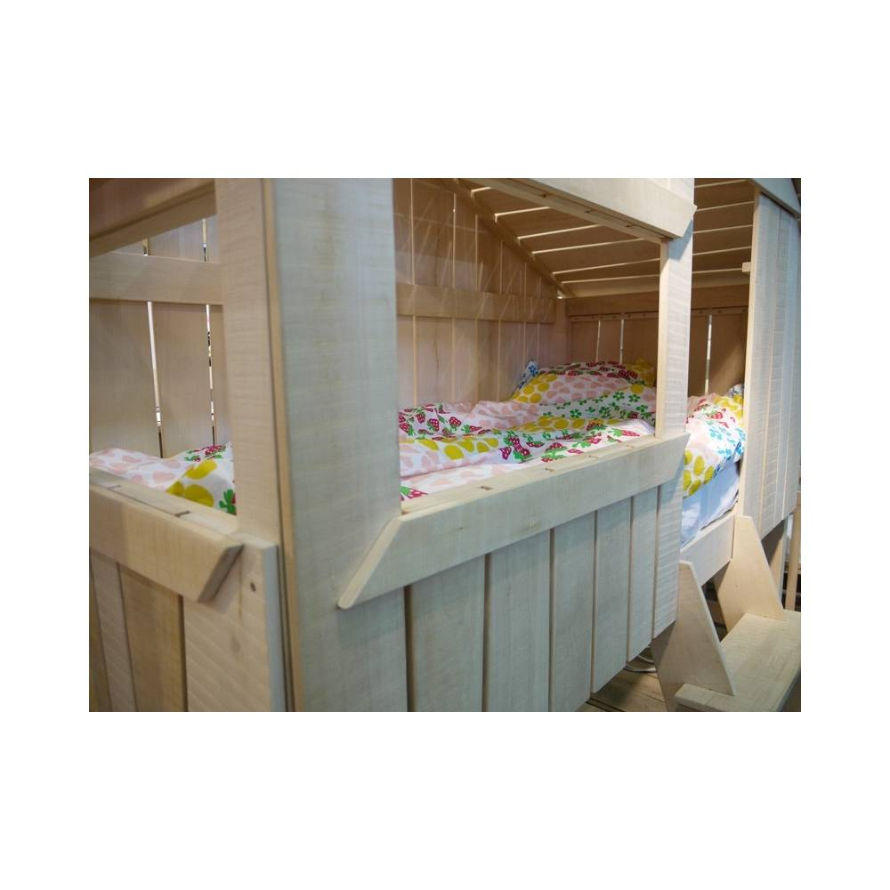 Lit enfant cabane en bois avec escalier - Lit mezzanine cabane ...