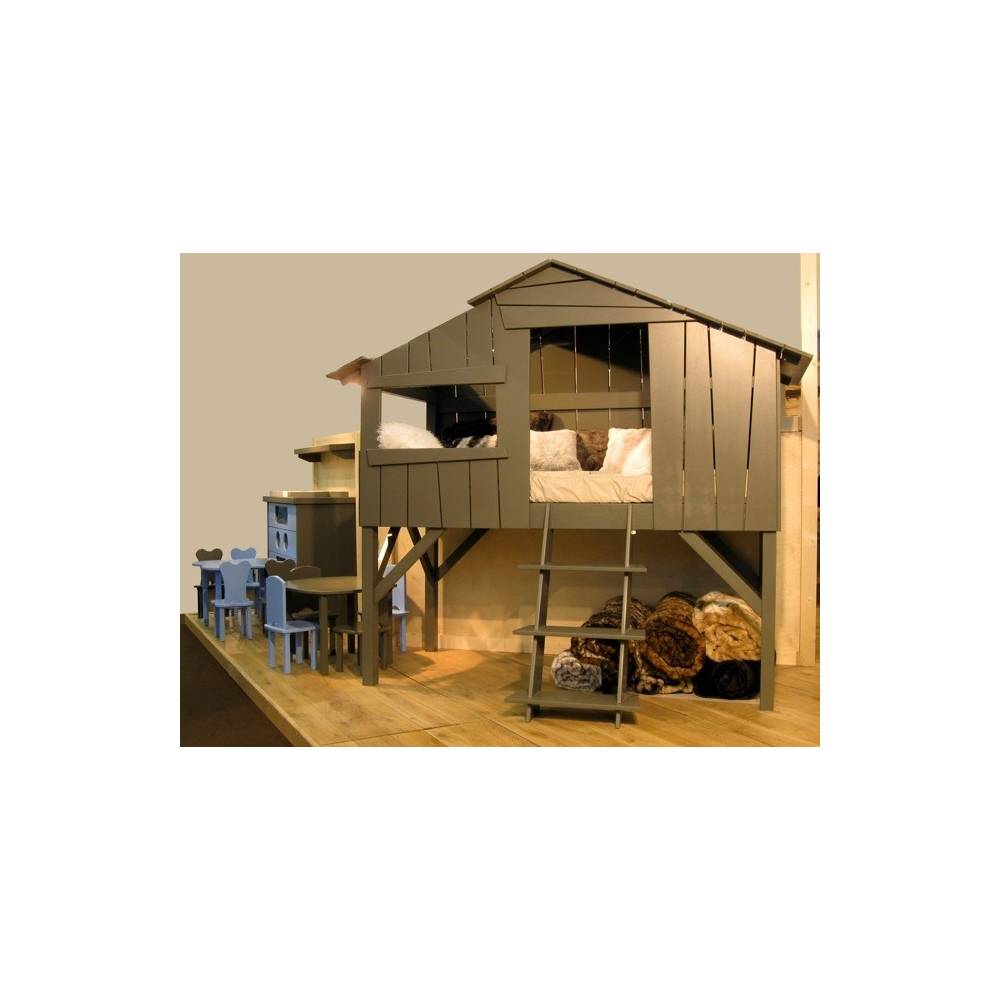 lit enfant cabane en bois avec escalier. Black Bedroom Furniture Sets. Home Design Ideas