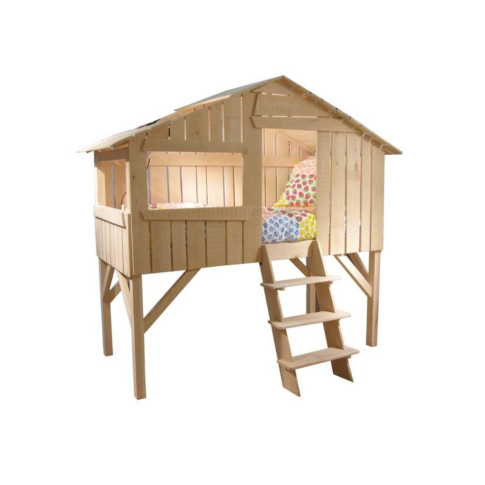 lit enfant cabane en bois avec escalier. Black Bedroom Furniture Sets. Home Design Ideas