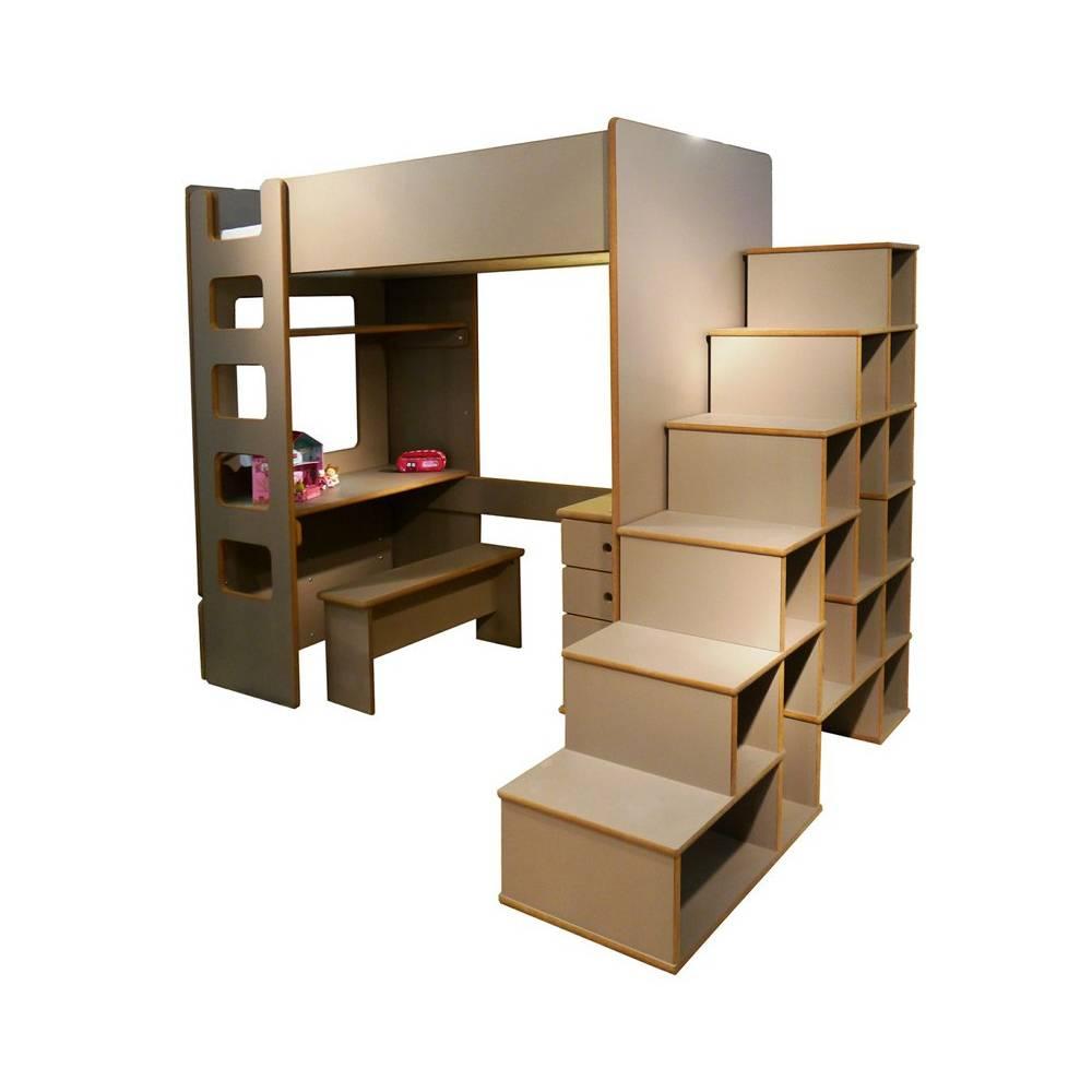 Lit mezzanine enfant avec etagere et bureau int gr - Lit mezzanine avec bureau integre ...