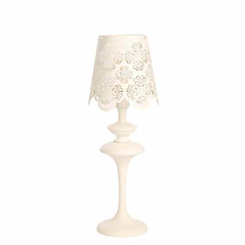 Lampe dentelle blanche