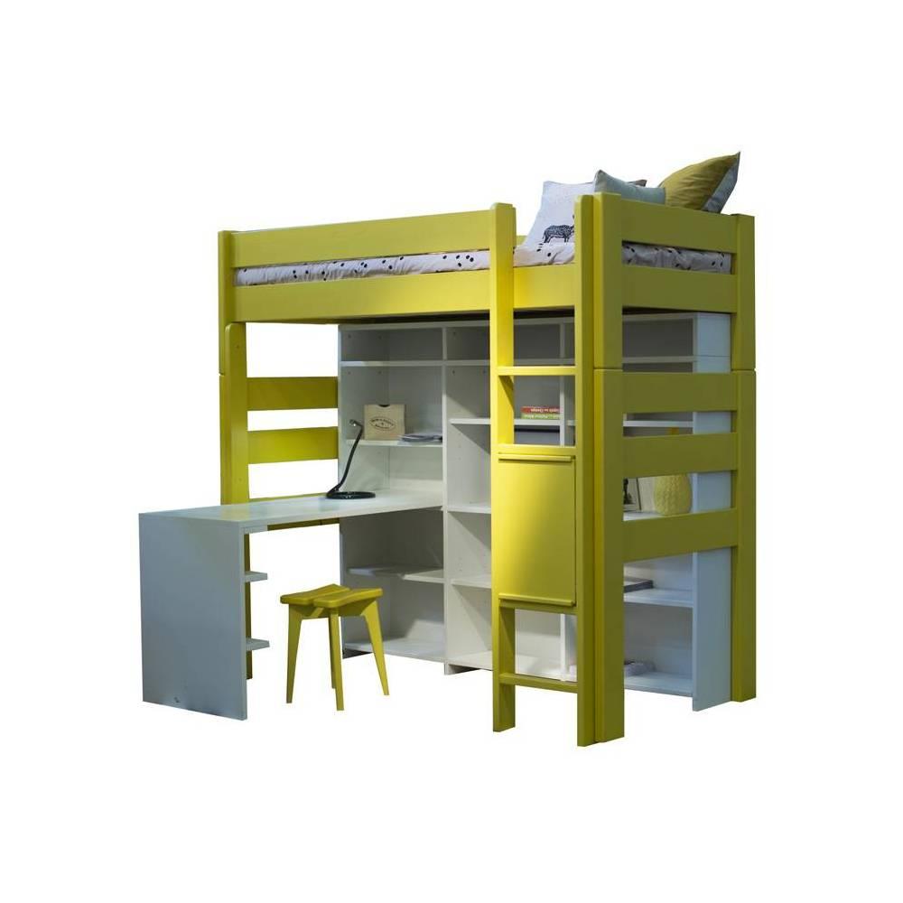 Lit mezzanine avec bureau integre lit mezzanine avec - Bibliotheque avec bureau integre ...