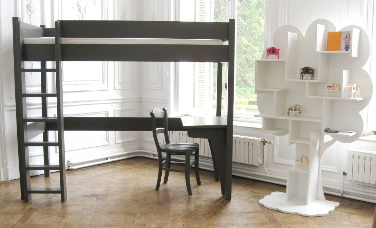 lit mezzanine enfant bois avec bureau design. Black Bedroom Furniture Sets. Home Design Ideas