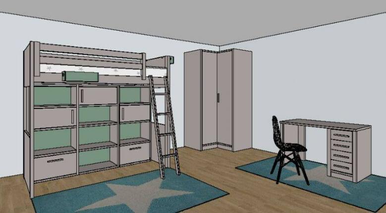 Plan 3D bibliothèque Diane