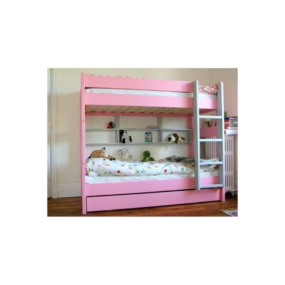 le lit superpos rose pour une chambre fille id ale meuble pour enfants. Black Bedroom Furniture Sets. Home Design Ideas