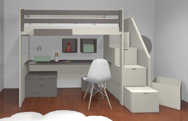 Conception 3D lit mezzanine Adria