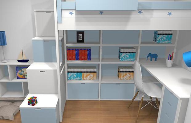 Conception 3D bibliothèque sous le lit