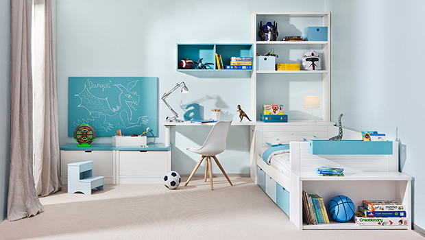Chambre lit Argos, bureau et rangement