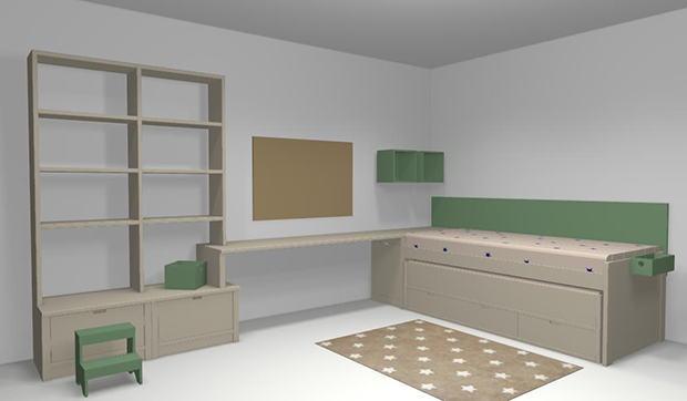 Conception 3D lit Artémis avec bibliothèque