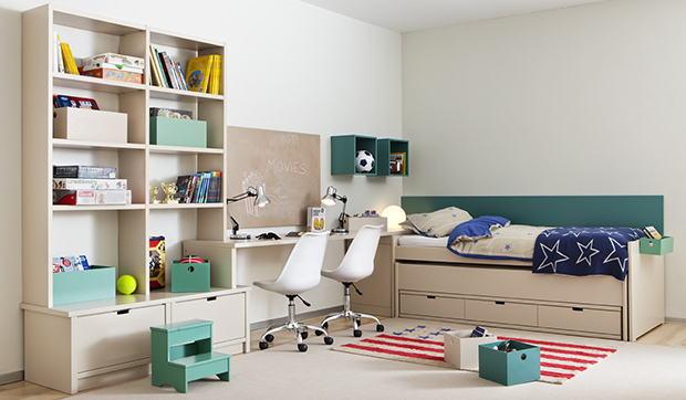 Chambre lit Artemis et bibliothèque