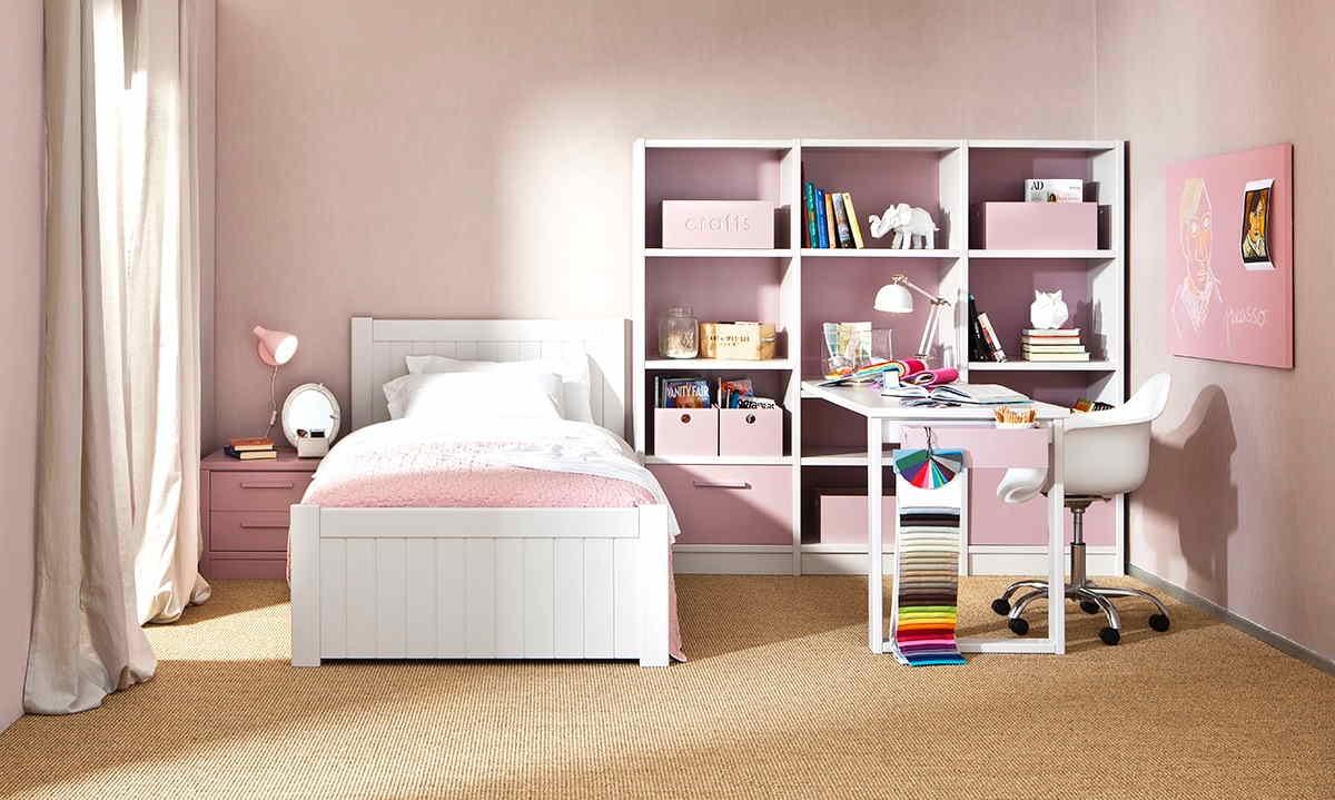 Chambre complète petite fille en rose et blanc