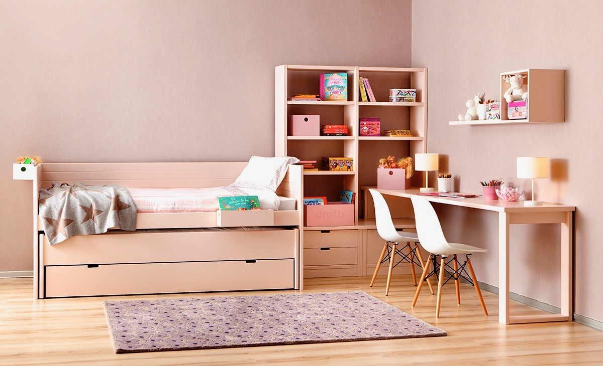 Chambre de filles sur-mesure avec 2 tiroirs-lits pour 3 couchages