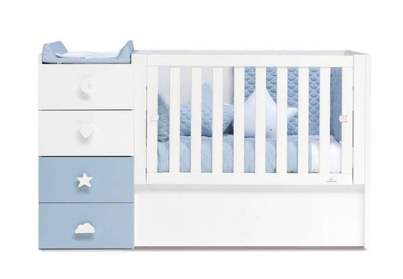 2 tiroirs blanc mat + 2 tiroirs bleus