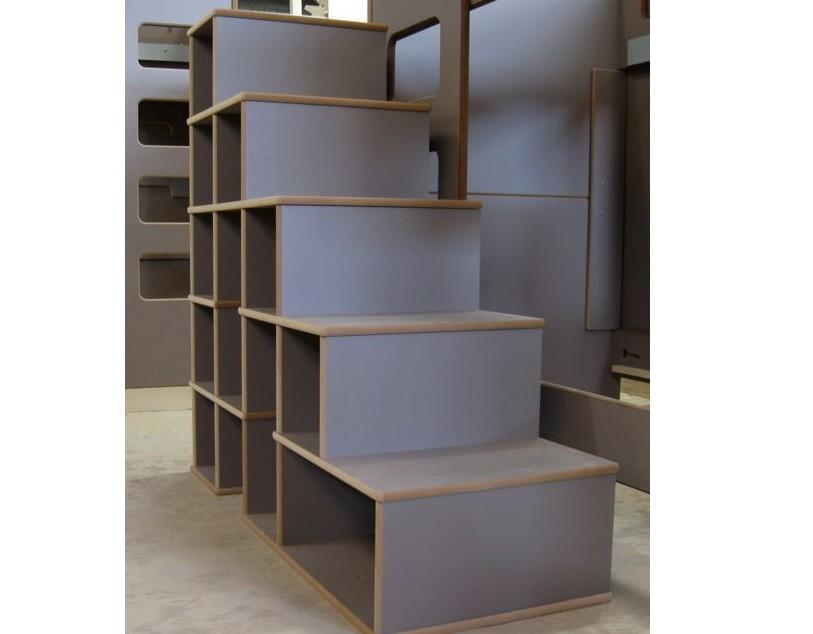 Lits superpos s david avec bureau en bois pour les enfants - Lit superpose avec escalier rangement ...