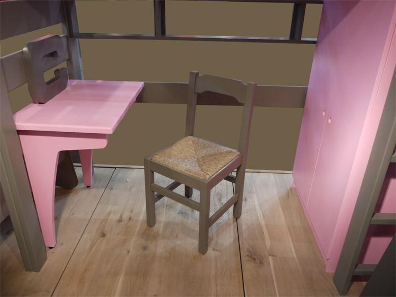Petit bureau fixé sur la traverse sous le lit (Largeur 88 x Prof 59 x Haut 75 cm)