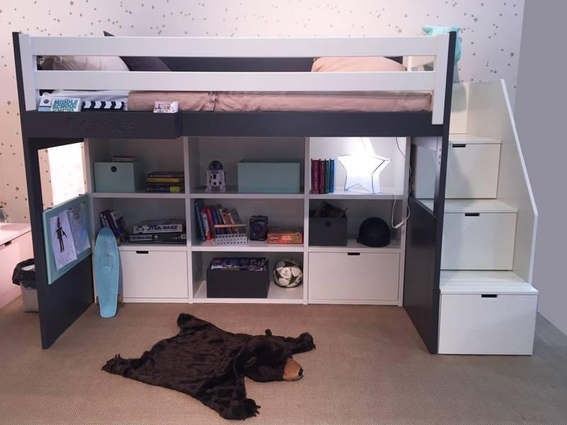 Bibliothèque avec 2 tiroirs - Lit hauteur 163 cm