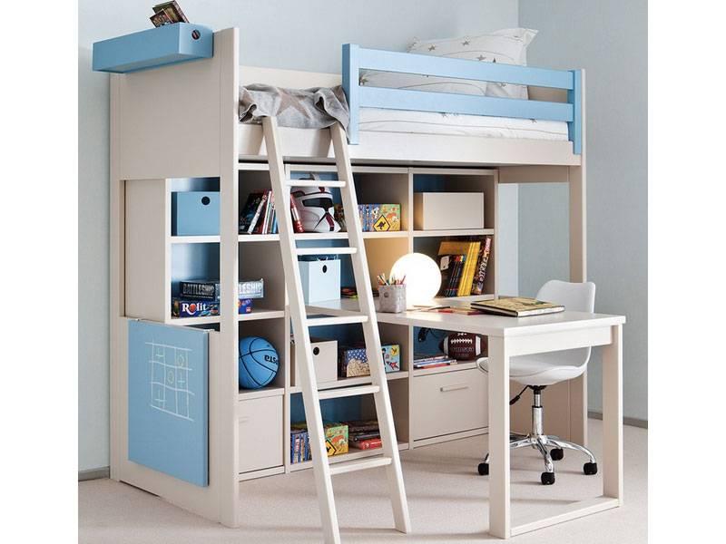 Bibliothèque avec 2 tiroirs - Lit hauteur 191 cm