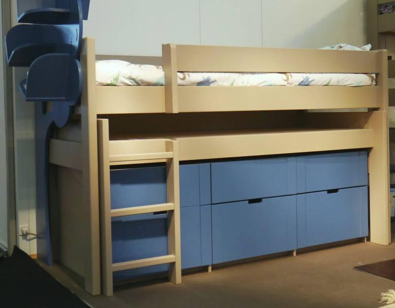 Bloc 5 tiroirs sous le bureau coulissant - 1 grand tiroir derrière l'échelle + 2 petits + 2 moyens